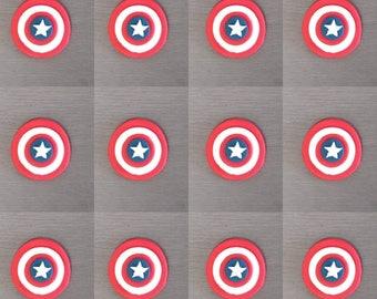 12 x Captain America Cupcake Toppers, fondant toppers, Captain America decorations, cake toppers, super hero