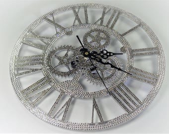 The 'Frozen Ice' 3D crystalised wall clock hand encrusted with over 2,600 luxury Preciosa TM crystals