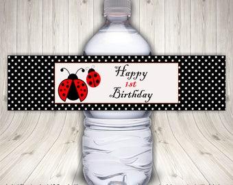Water Bottle Label, Ladybug Birthday Water Bottle Label, Ladybug Party Supplies, Ladybug  Birthday Party, Ladybug Party Ideas, Waterproof