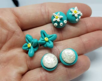 Set of 3 pairs of earrings, blue/green in color.