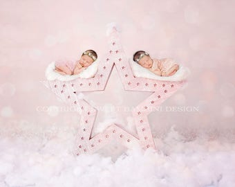 """Twin Digital Backdrop for newborn girls - """"Wish upon a star"""" in pink"""