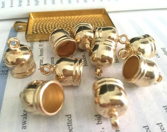 wholesale 100pieces gold plastic 12mmx18mm(inner hole 10mm)tassel caps/end caps/cord caps/cord findings