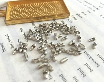 wholesale 100 Pieces /Lot silver Plated 1.5mm ball chain connector end crimp beads