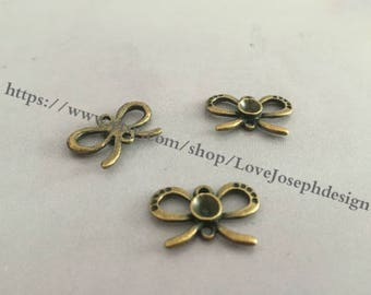 wholesale 30 Pieces /Lot Antique Bronze Plated 13mmx20mm bowknot charms(#0257)