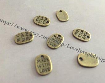 wholesale 100Pieces /Lot Antique Bronze Plated 8mmx11mm Made with love Charms (#0540)