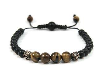 Urban Men's Tiger Eye & Onyx Pull Tie Single Bracelet. Boho Jewelry. Bohemian Jewelry. Ideas for him. Gift for him.