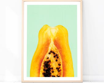 Papaya Print, Papaya Wall Decor, Papaya Printable Art, Aqua, Orange, Tropical Fruit, Modern Tropical, Papaya Photography, Modern Wall Decor