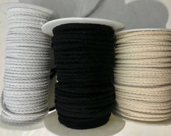 Cotton cord 5 mm /6mm / 7mm Three Different Size and Three Different Colors ( Black / White / Natural ) cotton cord rope