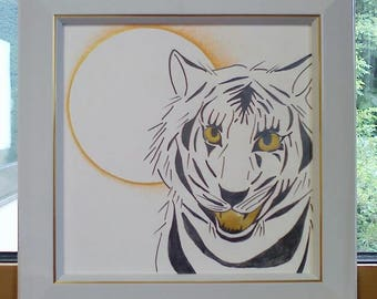 Lucky sign White Tiger [the original picture] <Image design art>