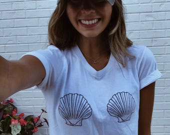 Mermaid Shirt - Mermaid Shell Shirt, Shell Tshirt, Graphic Tee, Mermaid Shirt Women, Sea Shell Bra Shirt, Shell Shirt, Mermaid Shell Top