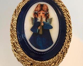 1970s Hobe vintage porcelain angel brooch / pendant