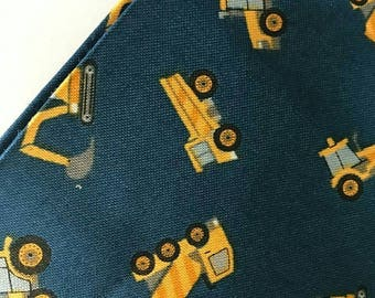 Diggers on Blue Fabric | Small Things On The Move | Lewis & Irene