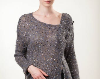 Japanese silk  mohair wool cardigan/Cardigan decorated  with button/Cardigan Length: 23.64'',60cm/Knitted with needles cardigan