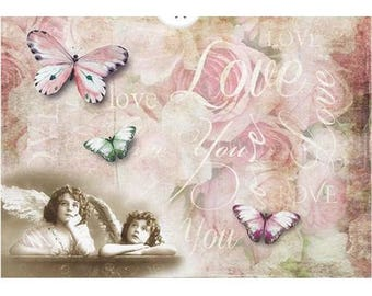 1 sheet of rice paper 21 x 28 cm decoupage collage LOVE YOU 1184