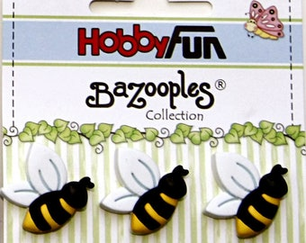 3 rsine scrapbooking bee novelty buttons