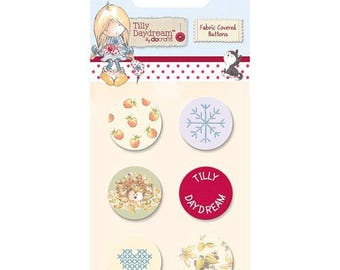 6 covered buttons sewing scrapbooking 2 cm TILLY DAYDREAM fabric