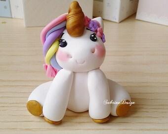 Rainbow unicorn cake topper, polymer clay unicorn, baby shower cake topper, birthday unicorn party, unicorn cake topper