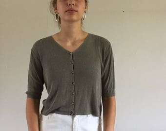 Vintage 90s Minimal Olive Ribbed Knit Silky Button Front Sweater | S/M