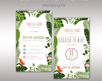 Tropical flamingo and flowers Scratch Off Card, Boho Marketing Kit, Fast Free Personalization, For Retailer, Home Office Approved K25G10
