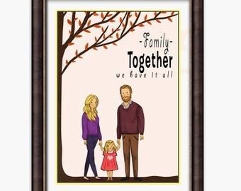 Custom family, personalized family, personalized gift, Family, family print, family art, family artwork, family tree, gift, gift for dad