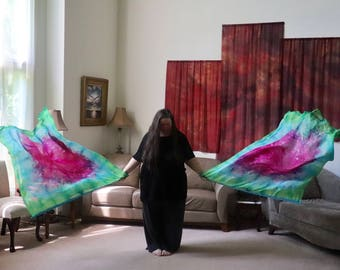 Prophetic - Silk Flag - Worship Flag - Praise Dance - Dyed Silk - Pair XL Bendie Flags called Rich Fruit