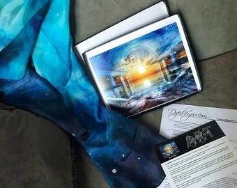 Prophetic - Silk Scarf - Prophetic Art - Christian Gifts - 8x10 Gift Set with M Silk (art - Secret Place | silk - Revelation of the Lord)