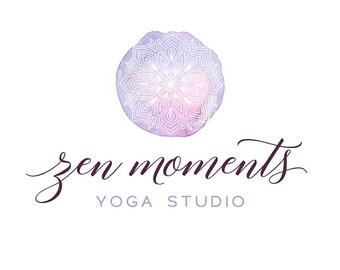 Mandala Logo Bohemian Logo, Purple Watercolor Logo Custom Logo Design Yoga Logo Brand Design Photography Logo and Watermark Boho Flower Logo