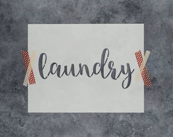 "Laundry Stencil - Reusable DIY Craft Sign Stencils of the Word ""Laundry"""