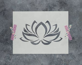 Lotus Flower Stencil - Reusable DIY Craft Stencils of a Lotus Flower