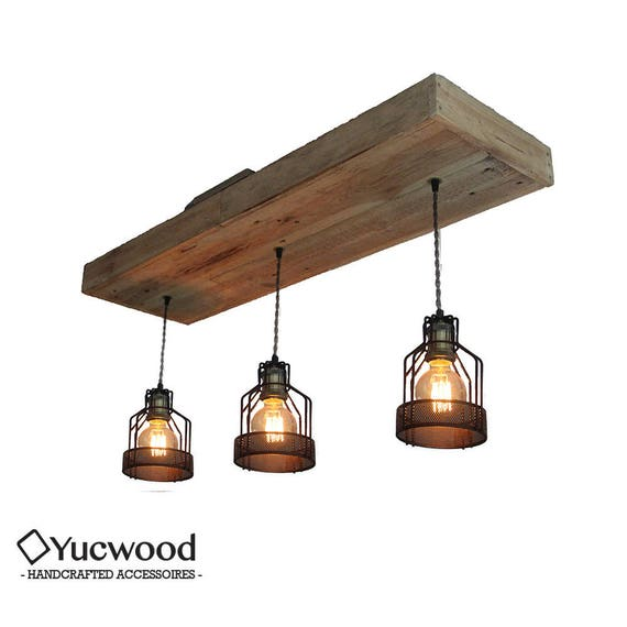 "Edison pendant lamp, ""Corry Cage"", wood lighting, Bar lighting, industrial, minimalist lamp, Loft, (includes 3 Led filaments)"