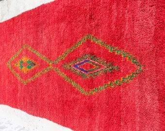 Moroccan Handmade Rugs Azilal Berber Red Carpet boucherouite Rug 11.1ft X 5.9ft