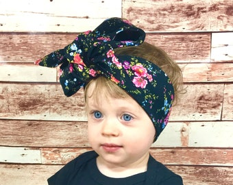 Floral Corduroy Headwrap- Headwrap, Flower Headband; Flower Headwrap; Flower Bow; Baby Headband Headwrap; Toddler Headband Headwrap; Turban