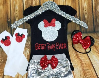 Best Day Ever Minnie Mouse Birthday or FIRST Disney Trip Sparkly Glitter Minnie Mouse Red, Black, White, Silver Colors Meeting Minnie Outfit