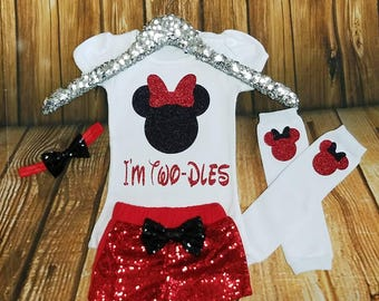I'm twodles MInnie Mouse birthday or Disney Trip Outfit Red and Black 2nd Minnie Mouse Red Sequin Shorts Twodles TWO Birthday