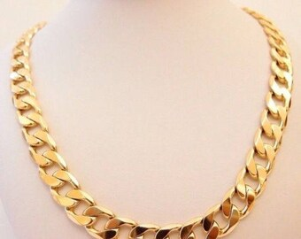"Men  Heavy 9ct ""Gold filled"" Men CURB Links CHAIN Necklace. L=24"", W=12.5mm Gift"