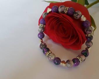 Purple Heart Beaded Bracelet