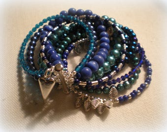 MULTI STRAND BRACELET ... royal blue and turquoise