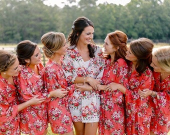 Cotton Bridesmaid Robes , Bridesmaid Gifts , Kimono Bridesmaids Robes, Floral Bridesmaids Robes, Bridal Robe, Getting Ready Robes