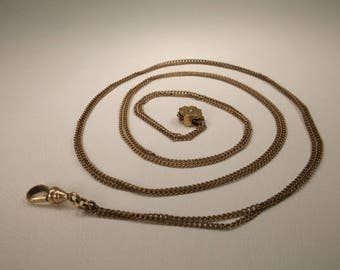 Beautiful Antique Art Deco 12kt Gold Filled Pocket Watch Chain With Fob 25 Inch Length