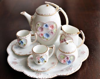 Dainty Miniature Tea Set, Mini Tea Set with Capodimonte Flowers, Hearts and Flowers Tea Set, Gift for Her, Tea Lover, Valentines Day