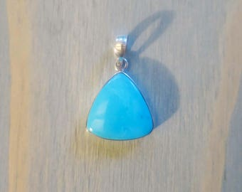 Sleeping Beauty Turquoise Triangle pendant in Sterling Silver