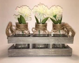 3 Bottle Vase Set, Jute Wrapped Necks in a Rustic Wood Box. Decorative tabletop centerpiece, country farmhouse rustic decor.