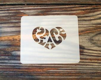Peace Love Heart Face Painting Stencil 7cm x 6cm 190micron Washable Reusable Mylar
