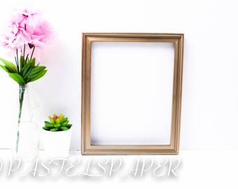 Picture Frame Mock Up Styled Stock Photo Desktop Flat Lay Background