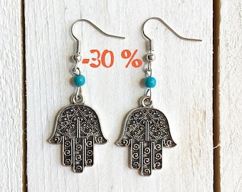 UMMER SALE / / / silver and turquoise Hamsa earrings