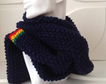 Winter Navy Blue Hand Knitted Scarf