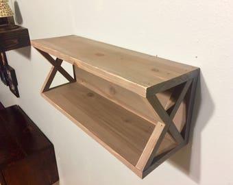 Cedar X Floating Shelf