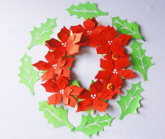 Christmas flower wreathholiday decorpresentgift origami flower christmas flower wreathholiday decorpresentgift origami flower wreath wall mightylinksfo