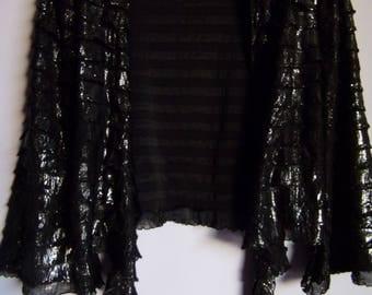 Vintage Womens Cardigan/Black Silver Party Jacket/Retro Jacket/Short  Disco Cardigan/Glossy Jacket/Bell Sleeve/Tied Jacket Size M