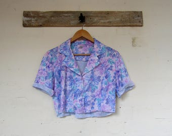 Pretty floral cropped 80's summer/festival shirt - size 10/12/14